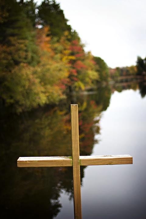 Wooden cross located at Keswick's lower lake! www.americaskeswick.org/