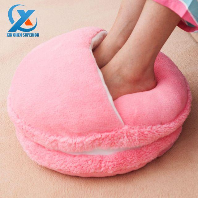 Criativo Macaron de pé inverno mais quente pés quentes chinelos sofá / cadeira / assento / almofada travesseiro para escritório decoração