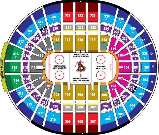 Canadian Tire Centre Ottawa Senators Seating Map