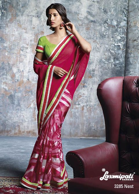 Red half-half saree with bold border patti and contrast blouse brings out the great party wear just for YOU....