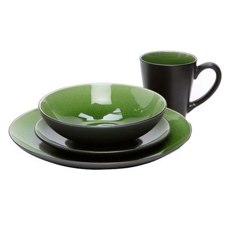 I'd want two sets of this! Sixteen-piece stoneware dinner set with green interiors.Product: 4 Dinner plates4 Salad plates4 Bowls4 Mugs