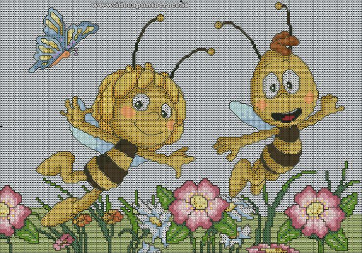 schema punto croce ape Maya e Willy