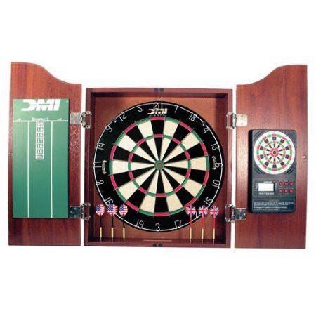 DMI Sports Bristle DartBoard with Solid Wood Cabinet