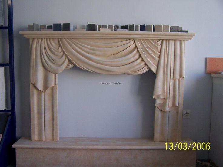 Fireplace Greek Dionyssos marble. Contact: sales@marmara.gr