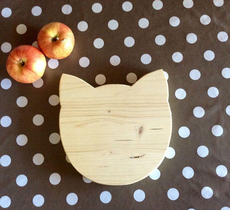 Dessous de plat tête de chat accessoire de cuisine en bois de pin : Cuisine et service de table par rouge-lin-et-bois