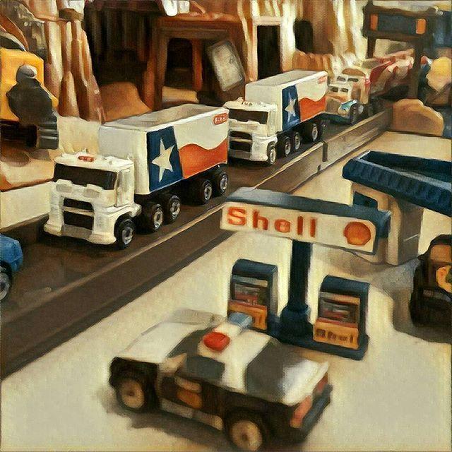 #micromachines #camarocopcar #camaro #transam #convoy #smokeyandthebandit #shell #gasstation #texasflag #trucks #heb #highway #vintagetoys #collectibles #90stoys #prisma #prismaart    #Regram via @richardbercich