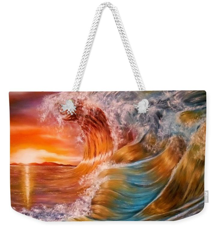 Weekender Tote Bag,  orange,colorful,multicolor,cool,beautiful,fancy,unique,trendy,artistic,awesome,fahionable,unusual,accessories,for,sale,design,items,products,gifts,presents,ideas,sunset,waves,ocean