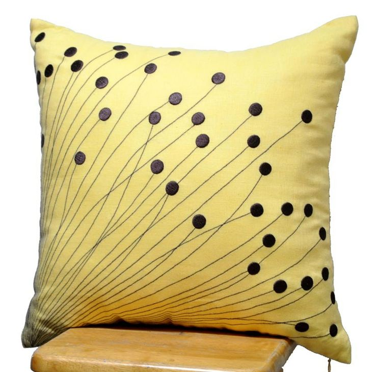yellow flower burst pillow pillow for couch brown flower embroidery on yellow linen pillow case 18 x 18 pillow accent