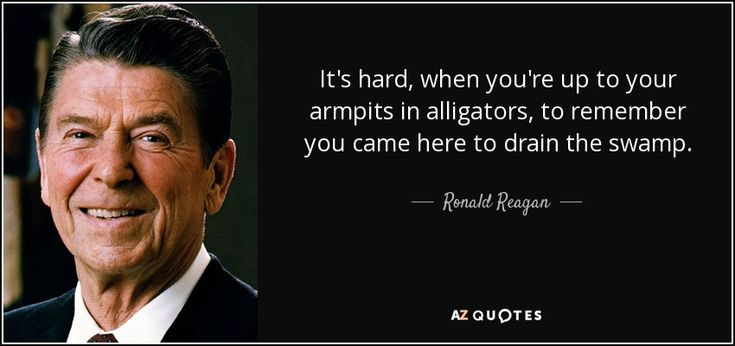 quote-it-s-hard-when-you-re-up-to-your-armpits-in-alligators-to-remember-you-came-here-to-ronald-reagan-61-8-0896