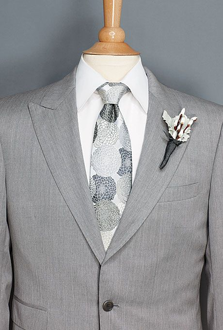Brides: Thomas Pink. Guys go silver-foxy in a jacket and tie in shades of gray.