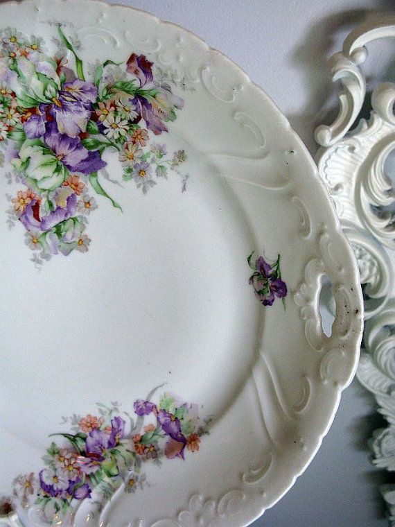 unusual wedding rings Plate Lavender Purple Vintage Cake Plate Bavarian Iris amp Daisies