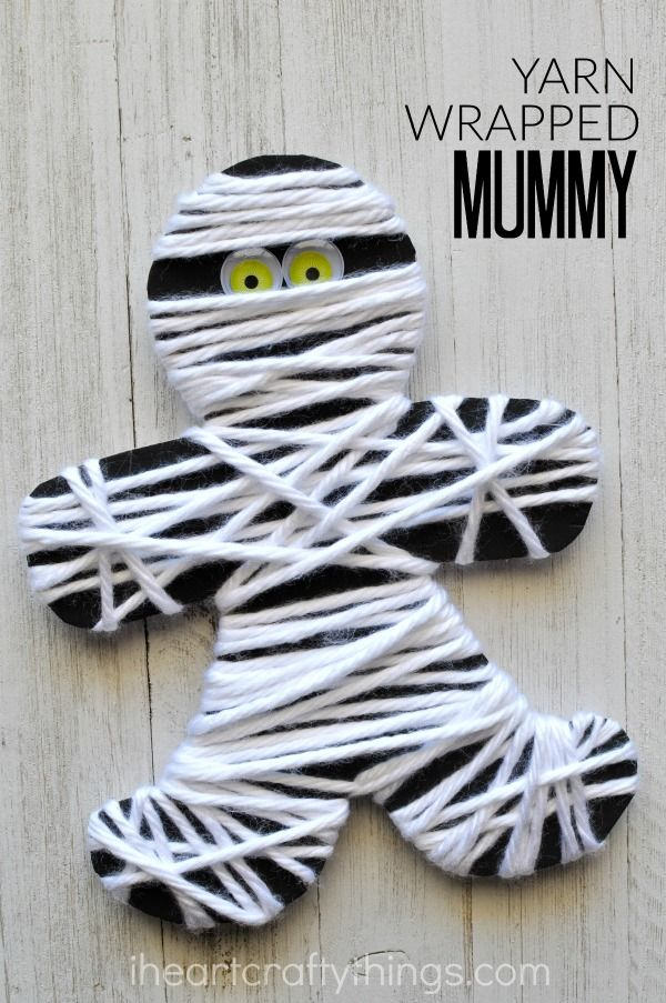 yarn wrapped mummy craft mummy craftskids halloween - Preschool Crafts For Halloween