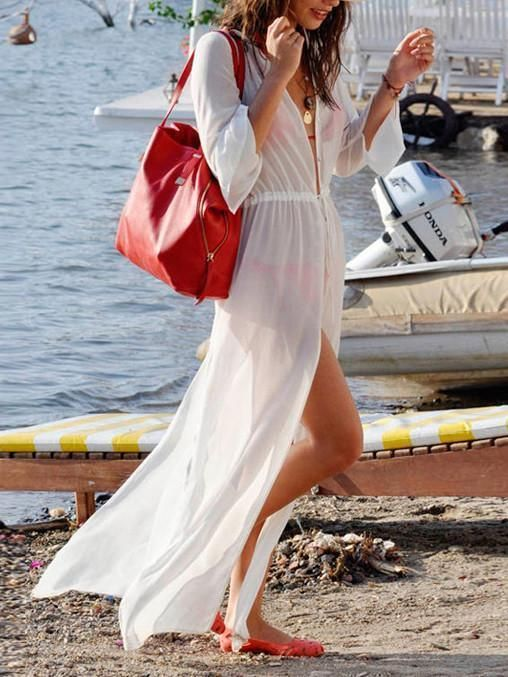 0848631e3ec Sexy White Long Sleeve Chiffon Maxi Beach Dress Cover-up