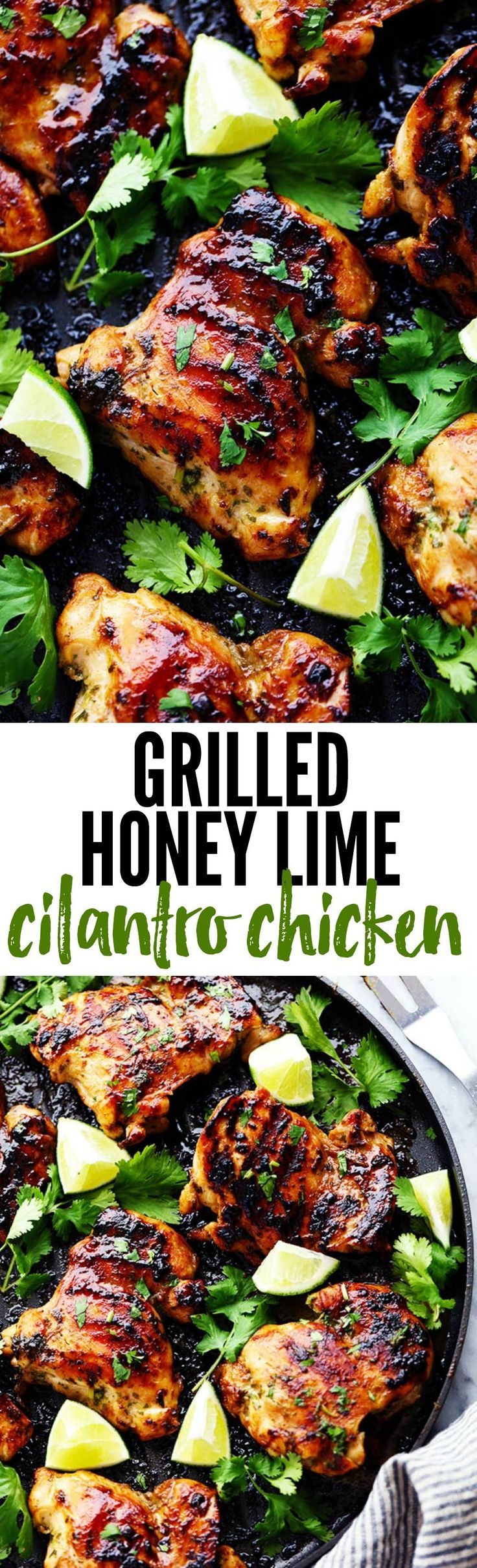 Perfectly grilled tender and juicy chicken marinated in a honey lime cilantro marinade. The flavor of this chicken is incredible! Honey + Lime + Cilantro = one