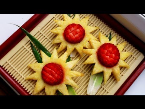 HOW TO MAKE PINEAPPLE  FLOWER - FRUIT CARVING & PINEAPPLE GARNISH - FRUIT ART - YouTube