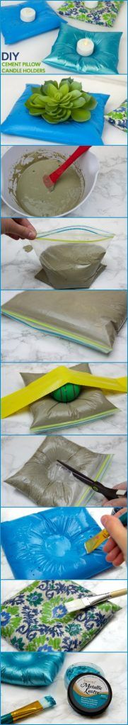 DIY Cement Pillow Candle Holders