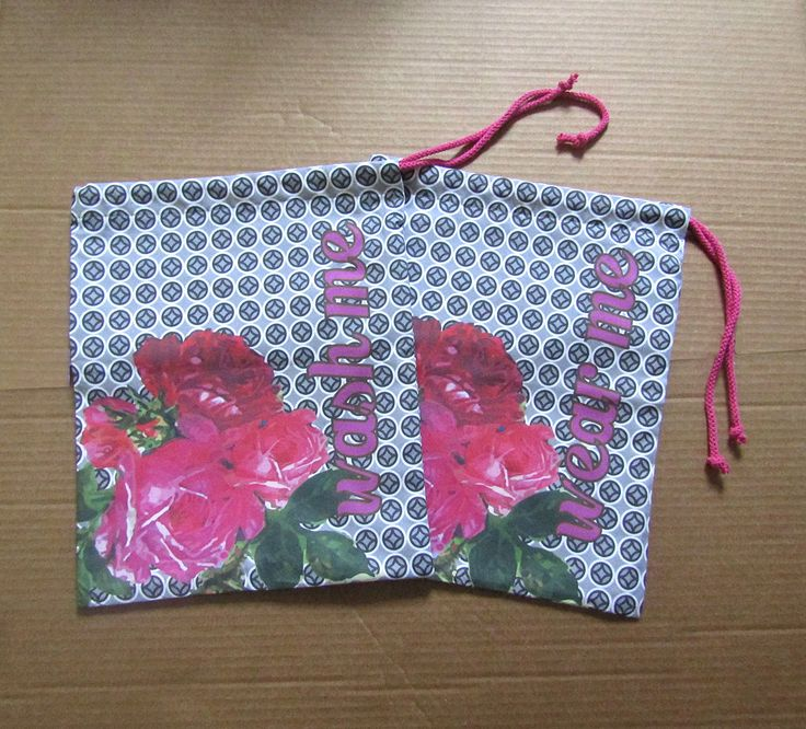 Luxury Travel Laundry Bag Set Two lingerie bags 100% cotton Bunch of Roses on Mosaic  Travel Kit Wash Bags Drawstring Bag by AlchemyAndFabric on Etsy