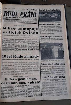 Titulní strana deníku Rudé právo z 24. února 1937. Článek Hitler - gentleman je umístěn vlevo dole.