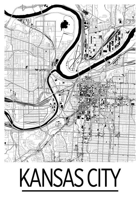 Kansas City Map Poster usa Map Print Art Deco by iLikeMaps