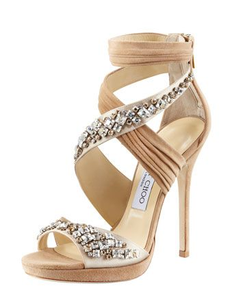 Kani Crisscross Platform Sandal by Jimmy Choo at Bergdorf Goodman.