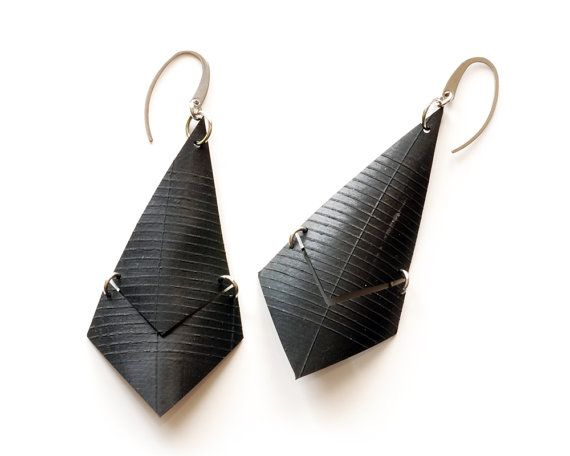 extra large chevron and diamond dangle upcycled innertube earrings with stainless steel hooks by livelyleafdesigns on etsy ($23)