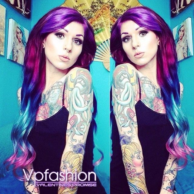 The Hottest Hair Dye Colors and Ideas Inspired by Vpfashion Beauties colorful hair extensions with pink, red, green and blue colors