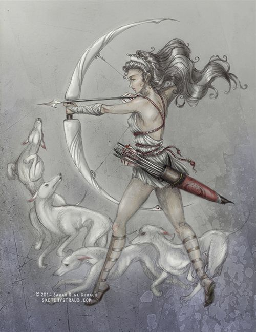 """Artemis"" illustration by Sarah René Straub (http://www.sketchystraub.com)  #mythology #greekmythology"