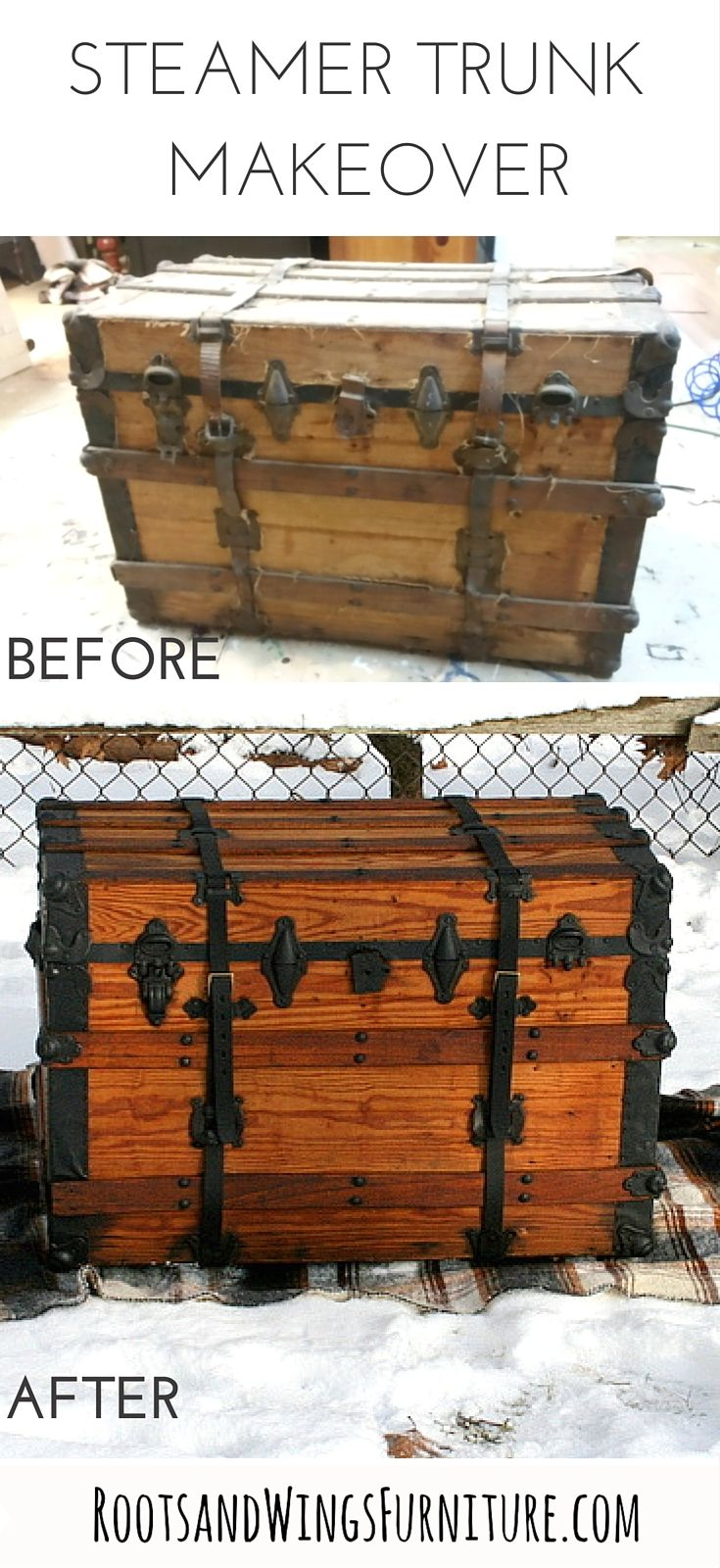 Steamer Trunk Makeover by Jenni of Roots and Wings Furniture.  MMS Hemp Oil and General Finishes Lamp Black Milk Paint were used.