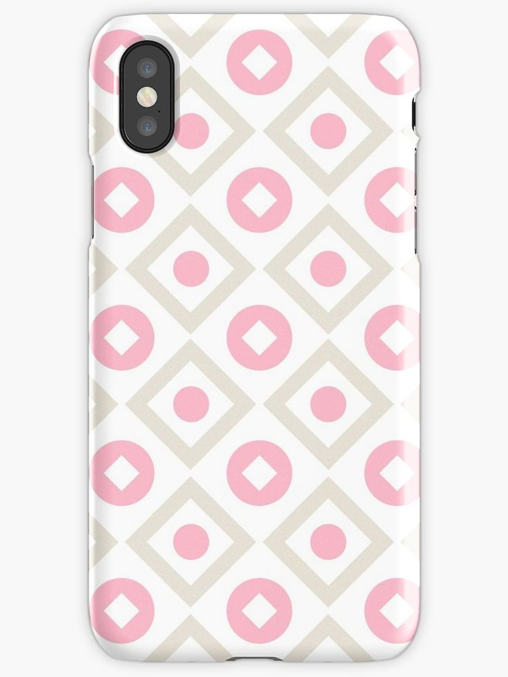 Pink pastel pattern of rhombuses and circles iphone 12