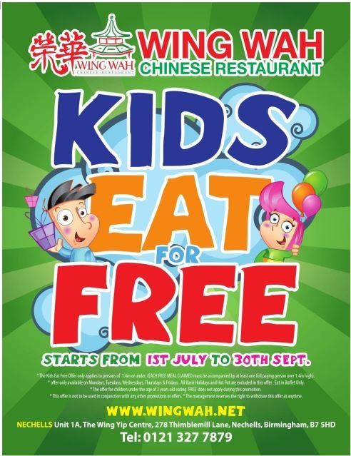 "This image is designed for both children and their parents. It uses comics of a boy and a girl who seems to be very happy. By doing this, it will encourage many children to go their and have fun. Also it uses coloful writings for the ""Kids eat free"" phrase to catch the parent's attention. By doing this, it'll encourage many parents to bring their kids there so that they don't have to worry about  getting food for their children."