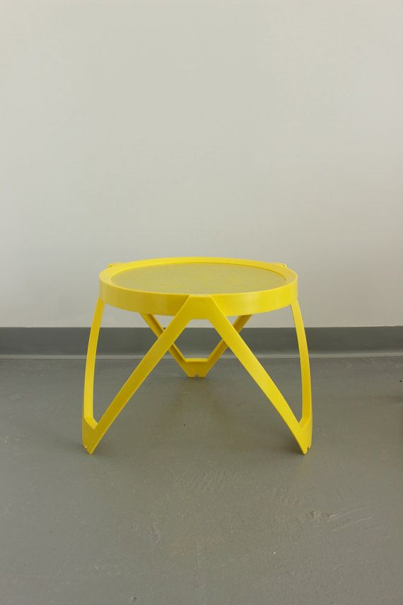 Neon Yellow IPL Patio Side Tables Pair Vintage by TinyBeachesShop