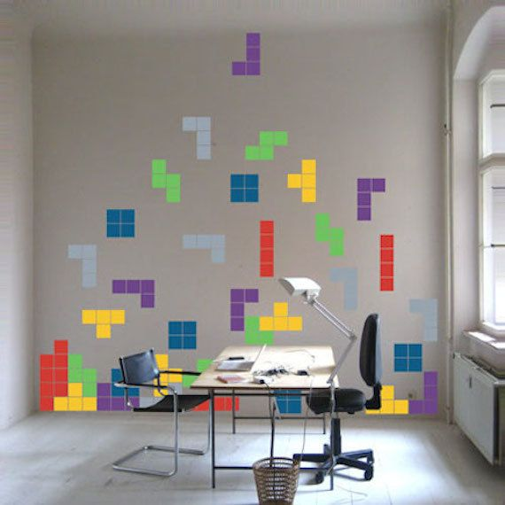 tetris decals video game decals lego art kids room video game wall decal stickers tetris wall decals tetris decals for kids d70 - Kids Room Wall Design