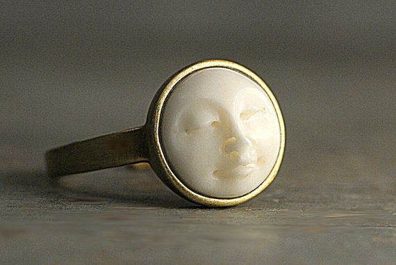 Moon Face Ring. Hand casted full moon in brass gold setting. Eco friendly white resin. Vegan. Adjustable ring for her.