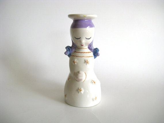Vintage Angel Figurine Scandinavian Vase Candle by pillowsophi, $28.00