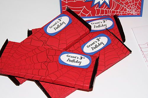 Spiderman candy bar wrappers & invitations