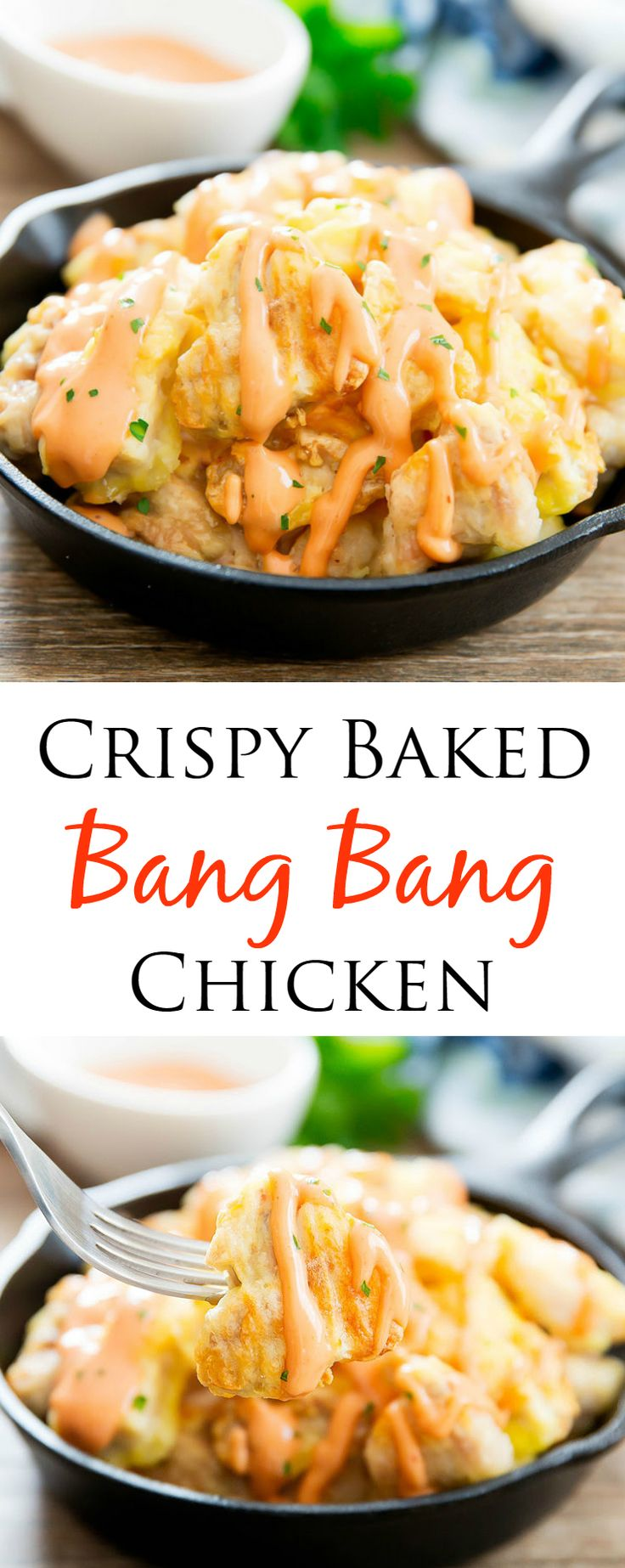 Bang Bang Crispy Baked Chicken. No breadcrumbs used! An easy weeknight meal.