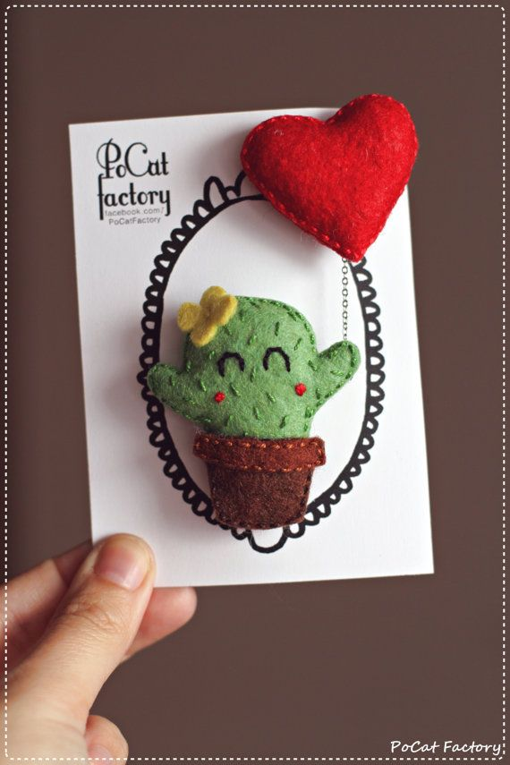 Cute handmade felt valentine cactus brooch with a by PoCatFactory