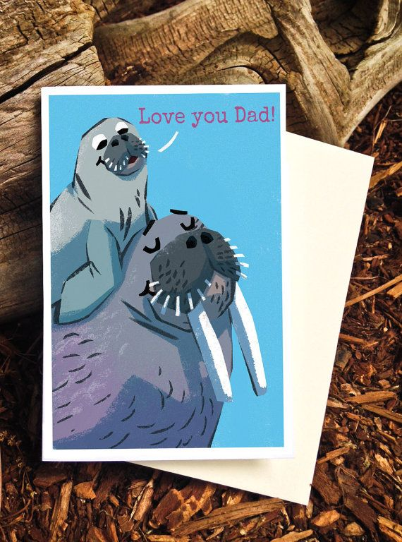 Father's Day Card - Love you Dad! Walrus Dad and Son by Pickle Punch