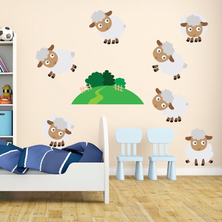 Friendly Sheep Fabric Wall Stickers Decals - Removable and Repositionable - FA102 by Mirrorin on Etsy https://www.etsy.com/listing/230555247/friendly-sheep-fabric-wall-stickers