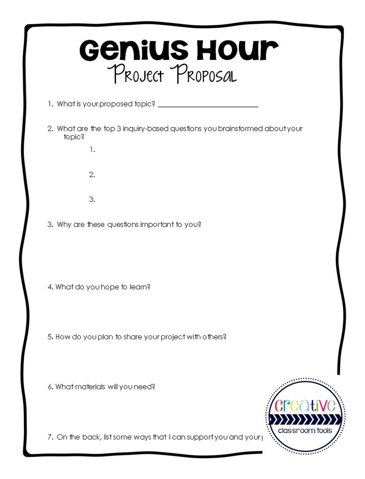 FREE Download   GENIUS HOUR Project Proposal  Example Of Project Proposal Used