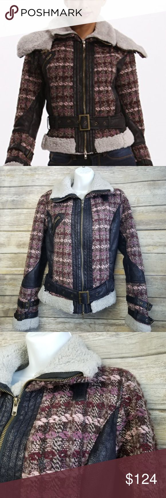 """Desigual Womens Junio Ruby Wine Moto Wool Jacket Desigual Womens Junio Ruby Wine Moto Wool Coat Jacket Sherpa Fur Lined 38 US8 10  No rips, stains, smoke free home.  Pit to pit: 19.5"""" Shoulder to hem: 21.5"""" Desigual Jackets & Coats"""