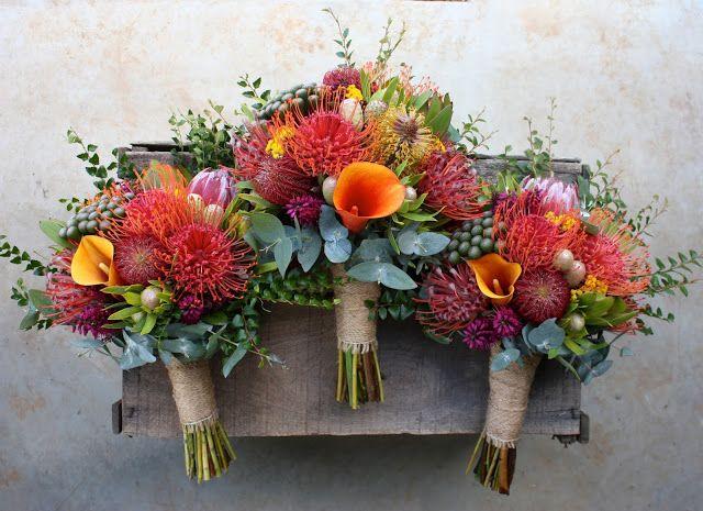 Swallows Nest Farm Banksia, Leucospermum, Protea, Calla LIly, Austrlaian Native Wedding Bouquet