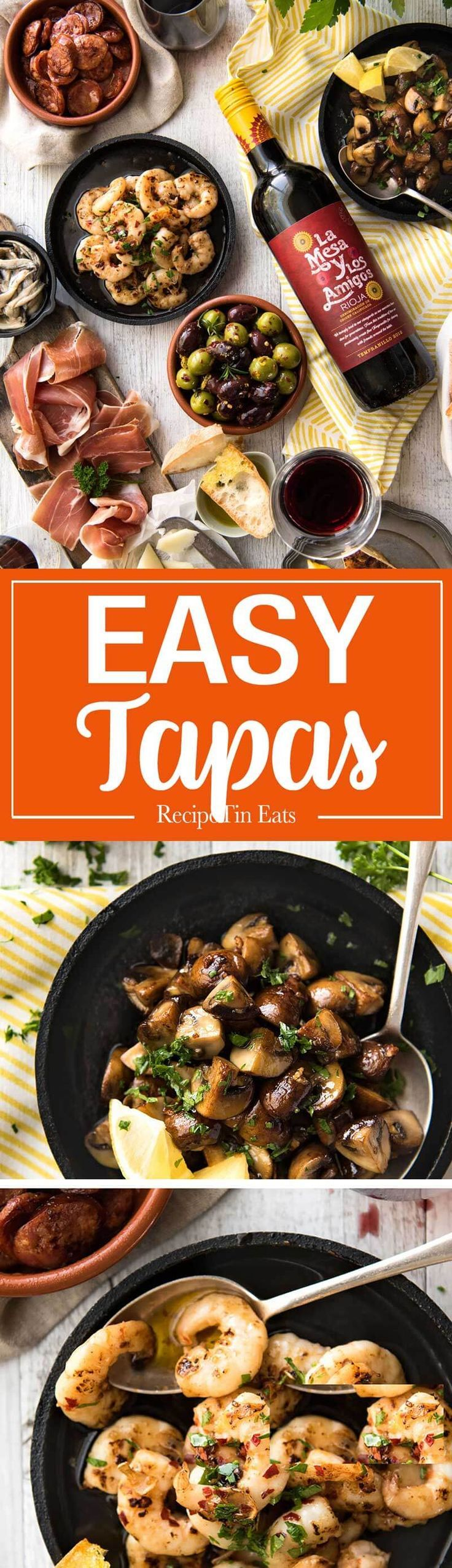 5 Easy Spanish Tapas recipes - all your favorites from the tapas bar! Garlic mushrooms, chorizo, garlic shrimp/prawns, Spanish marinated olives , Spanish omelette and a cheese platter! http://www.recipetineats.com
