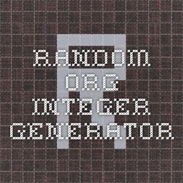 RANDOM.ORG - Integer Generator