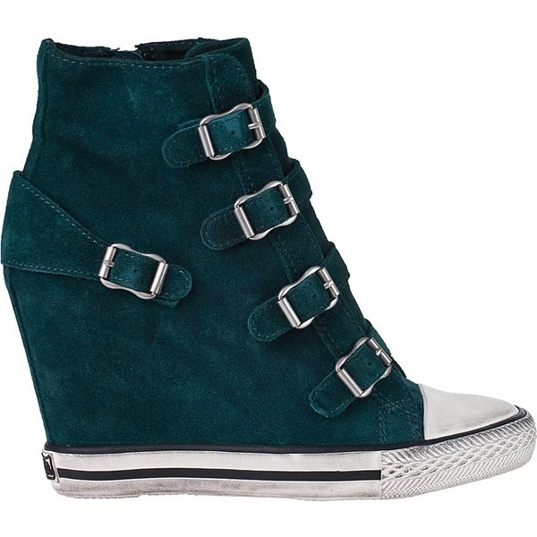 ASH United Wedge Sneaker English Green Suede ($225) ❤ liked on Polyvore