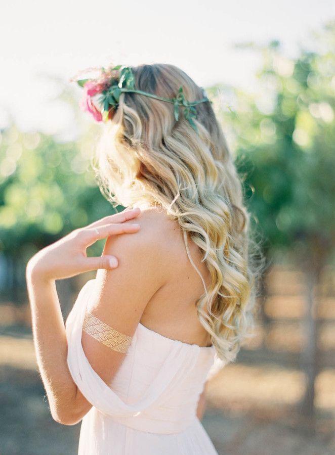 Blush Berry Red Healdsburg Winery Wedding Loose Curls