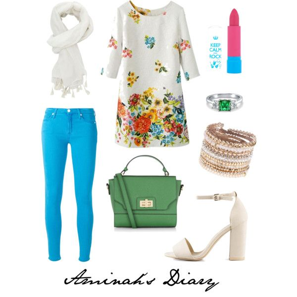 http://aminahshijabdiary.wordpress.com/ #hijab #muslimah #fashion #ootd #style #look #outfit #jeans #colour #dress #flower #white #green #blue