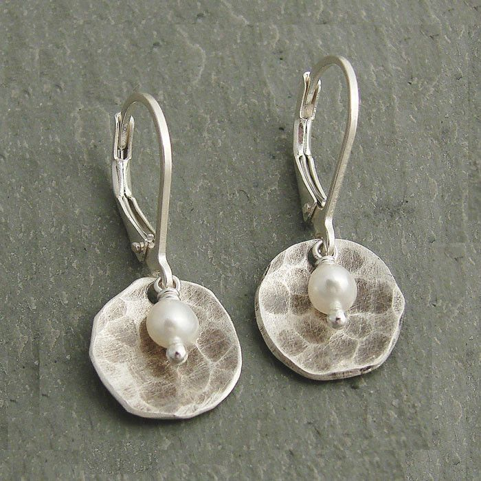J & I Hammered Sterling Silver With Pearl Earrings