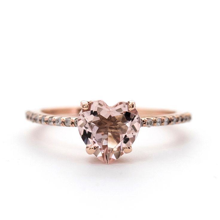 Heart Shape Morganite Ring with Diamond Band