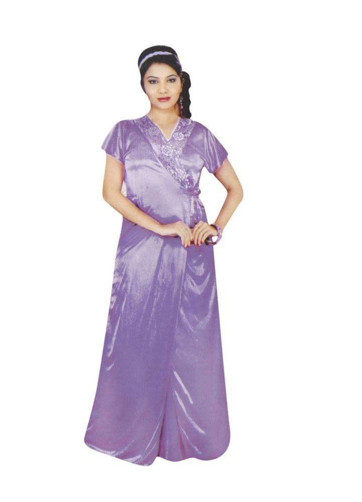 73e80d01d2 Indiatrendzs Women Satin Purple Nightwear 2 Pc Set Sexy Nighty With Robe   Indiatrendzs